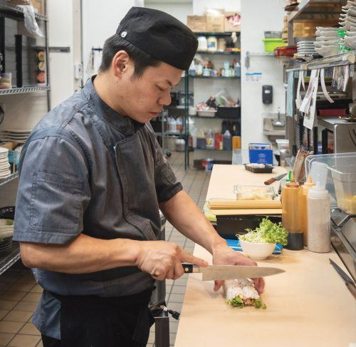 Chef Dan Hon makes a veggie roll in the Shota Sushi and Grill kitchen. Hon has previously cooked for Canadian celebrities. The restaurant offers specialty rolls, sashimi, maki, rice bowls, tempura, terriyaki chicken and soups. Shota Sushi and Grill, which opened this fall, is at 2855 Foothill Blvd., in the La Verne Village apartment complex. Shota Sushi is open Sunday through Thursday for lunch from 11 a.m. to 3 p.m. and dinner from 5 p.m. to 9 p.m, and Friday through Saturday for lunch from 11 a.m. to 3 p.m. and dinner from 5 p.m. to 10 p.m.