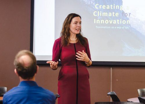 "Professor of Management Louise Kelly speaks about her research ""Creating a Climate for Innovation"" Tuesday in the President's Dining Room. Kelly says that innovation in the corporate world must start at the top. / photo by Katelyn Keeling"