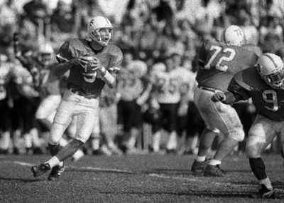 Saturday's football game ended a 10-year winning streak of the Leopards over the Occidental Tigers when Occidental won 21-10. The last time the Tigers defeated La Verne was in 1990 with a score of 38-27. Quarterback Jeremy Mears (#6) gets protected by Shaun Hannan (#72) and James Torrance (#9). The Leopards face Pomona-Pitzer in a nonconference game today. / photo by Jen Newman
