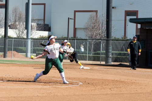 La Verne junior pitcher Katheryn Navarro faces off against Cal Lutheran in the second inning of the first game of Saturday's doubleheader at Campus West. Cal Lutheran scored four runs in the inning but La Verne won the game, 11-4. / photo by Katelyn Keeling