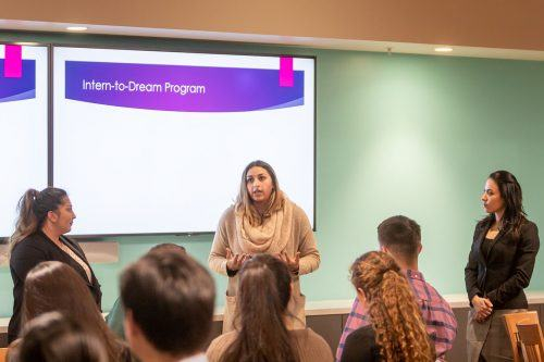 ConvergeOne project manager Karina Kishishia and AppleOne staffing consultants Brianna Flores and Hala Ortega offer tips to Phi Delta Sigma students on effective interview skills and how to build a stronger resume on Tuesday in the Executive Dining Room. / photo by Jaysin Brandt