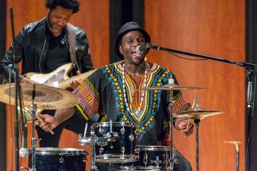 "Drummer Lyndon Rochelle plays a powerful rendition of ""Thank You Lord for All You Do"" after explaining that he has chronic pain and epilepsy. He was accompanied by his jazz band Sunday at Morgan Auditorium."