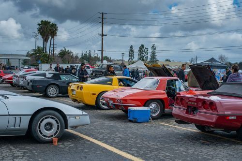 A collection of Corvettes are on display Sunday at the largest West Coast automotive swap meet and classic car show. The annual event is held at the Fairplex, where people look to purchase rare car parts, admire the classic cars and with other car enthusiasts. / photo by Nikky Huynh