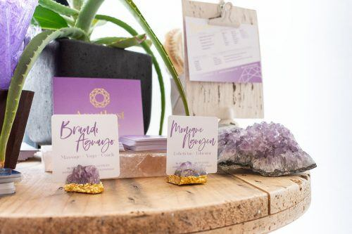 Amethyst Healing Spa owners Brandi Aguayo and Monique Nguyen decorated the space just as the name implies, with natural items such as plants, amethyst stones and Himalayan salt. The spa at 1768 Arrow Hwy, has $10 yoga sessions for students. / photo by Kayla Salas