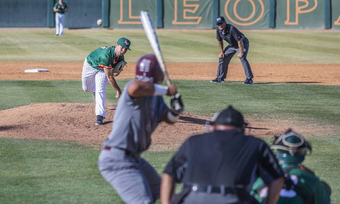 Junior pitcher Cody Norman strikes out a Redlands batter in the fourth inning Friday at Ben Hines Field. The Leopards won, 8-0. The Leopards' next game is at Occidental at 3 p.m. Friday, followed by a doubleheader at 11 a.m. Saturday at Ben Hines Field.