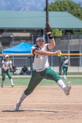 Sophomore Jiana Rojo pitches against Claremont-Mudd-Scripps in game one Saturday. The Leopards lost both games of the doubleheader against the Athenas, 5-1 and 7-5. / photo by Ariel Torres