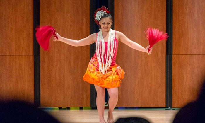 Trista Rios, junior kinesiology major, performs a cultural Polynesian dance from the island of Tahiti at the Leo Factor talent show Wednesday in Morgan Auditorium. The Campus Activities Board sponsored the event, which gave students a chance to show off their skills and talents to their peers.