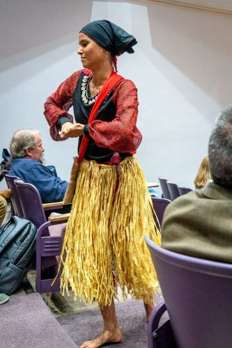 Kati Hernandez, Afro-Cuban dance teacher and co-founder of KimBamBula Production, performs with the Pomona College Afro-Cuban Music Ensemble Monday at Pomona College. / photo by Nikky Huynh