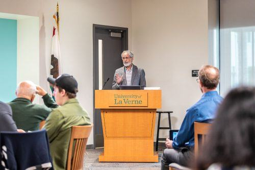 Hector Delgado, professor of sociology, discusses his future plans after retirement. Delgado plans to move to Atlanta to be a political activist, among other things. His last lecture took place in the Executive Dining Room on Tuesday. / photo by Jaren Cyrus