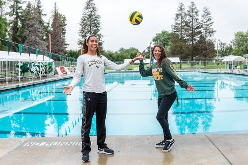 La Verne attackers Guarina Garcia, senior athletic training major, and Jassmine Kezman, sophomore kinesiology major, were named women's water polo First Team All-Southern California Intercollegiate Athletic Conference for 2019. / photo by Katelyn Keeling