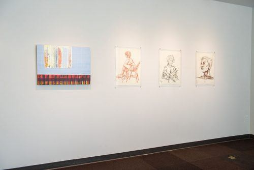 "The West Gallery in the Campus Center displays ""You Are A Light,"" a collection of work created by students in the Life Drawing and Painting classes. The show is free and runs through May 24. / photo by Katelyn Keeling"