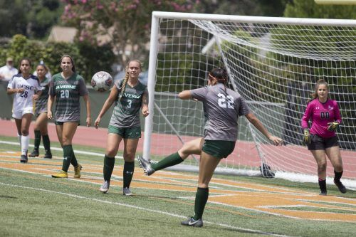 Sophomore Leopard defender Renae Loera clears the ball from the goal-box in their game against UC Santa Cruz Sunday. The Leopards would lose the game 1-0, dropping to an 0-2 overall record. The Leopards will return to action Saturday against Soka. / photo by Melody Blazauskas