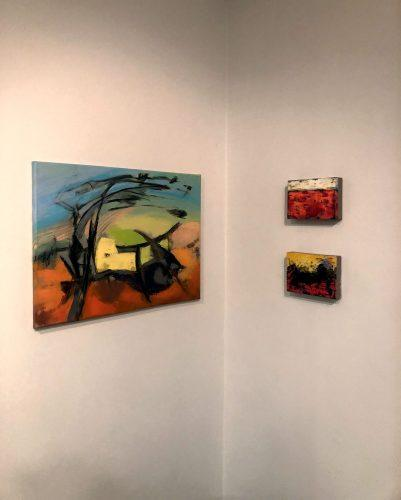 "Muralist Joy McAllister showcased her paintings ""Feel Like Dancing,"" ""Parfait"" and ""Daybreak"" at the opening of her exhibit on Saturday night. Her artwork can be viewed at the Ginger Elliot Center in Claremont until Sept. 29. / photo by Deja Goode"