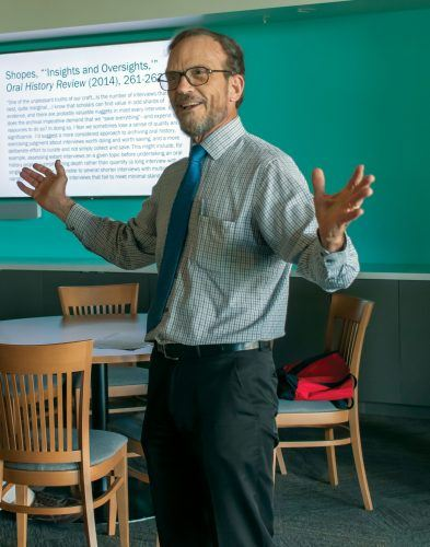 Al Clark, professor of humanities, presented his oral history documentary that chronicled the housing experiences of 46 ULV alumni ranging from the academic years of 1891 to 2019. / photo by Danielle De Luna