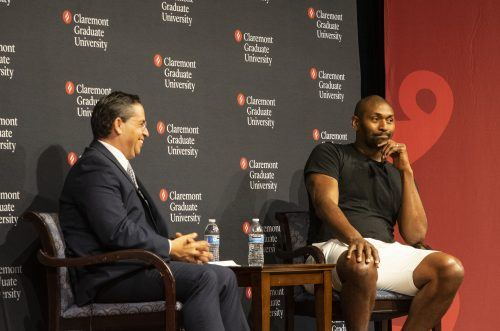 Former NBA player Metta World Peace, formerly known as Ron Artest spoke with Claremont Graduate University students about his journey with mental health Wednesday at Pomona College. / photo by Maydeen Merino