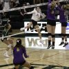Regal sophomores, middle blocker Maci Haddad and outisde hitter Madison Karcich, go up to block a spike from Leopard sophomore outside hitter Hayley Celaya in La Verne's game against Cal Lutheran Sept. 28. The Leopards took the match 3-1 and improved to 4-1 in SCIAC.