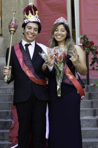 John Ceja, sophomore computer science major, and Alyssa Munoz, senior broadcast television major, were crowned Leo Royalty at the Homecoming Street Fair Saturday at Founders Hall. / photo by Melody Blazauskas