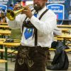 John Cather, a trumpet player in the Rheinländers band, plays German folk music at the Pomona Fairplex Oktoberfest Oct. 4. These bands have played in the villages and pubs of Germany, Austria and Switzerland for over 100 years. See story on page 6.