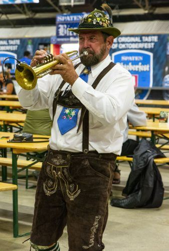 John Cather, a trumpet player in the Rheinländers band, plays German folk music at the Pomona Fairplex Oktoberfest Oct. 4. These bands have played in the villages and pubs of Germany, Austria and Switzerland for over 100 years. / photo by Maydeen Merino