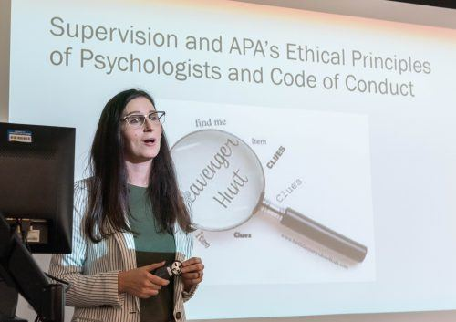 Nicole Mahrer Malotte, assistant professor of psychology, teaches a class on the ethical principles of psychologists. Mahrer, a mother of twins, specializes in parenting and uses her experience as a mother to help her work with clients. / photo by Katelyn Keeling