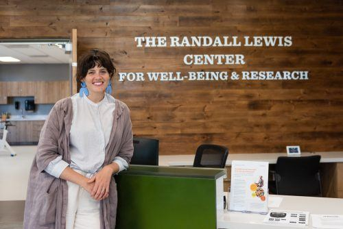 Sarah Rodman-Alvarez, executive director of the Randall Lewis Center for Well-Being and Research, celebrates the new Center. The grand opening will be held from 3:30 to 5 p.m. Oct. 18. / photo by Katelyn Keeling