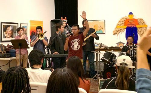 Romualdo Sanchez has been a member of the Pomona Student Union youth group for three years. The group helps to raise awareness about different cultures within the city. The student union used art, music and performance to celebrate the Indigenous community while raising awareness for Indigenous Peoples' Day. / photo by Eric Rangel