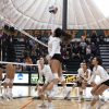 Pi'ikea Clemens, junior outside hitter for the Leopards, spikes the ball over Whittier senior middle blocker Valerie Van Der Linden and sophomore setter Makayla Wright in La Verne's game against the Whittier Poets Saturday. The Leopards lost the game, 3-2