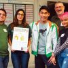 Journalism students and Campus Times editors, David Gonzalez, Layla Abbas, Joey Matsuzawa and Jocelyn Arceo show off the front page of the Campus Times' centennial issue with Journalism Operations Manager Eric Borer. The event celebrated the centennial year of the paper Saturday. / photo by Maydeen Merino
