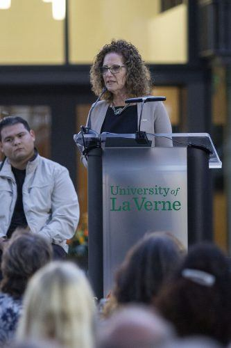 President Devorah Lieberman opens the ceremony for the new Ludwick Center for Spirituality, Cultural Understanding, and Community Engagement on Nov. 14. / photo by Eric Rangel