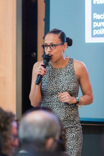 Gina Garcia, an expert on Hispanic Serving Institutions, discusses HSIs and opportunities for Colleges and Universities in the Ludwick Center Sacred Space on Nov. 21. HSIs are colleges or universities that enroll at least 25% Latinx undergraduate students. / photo by Ariel Torres