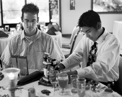 Junior Rick Garcia and freshman Frank Tolentino work on Legos set out at the L.E.A.D. Banquet last Tuesday. Awards were handed out to organizations and individuals who showed leadership and responsibility in academic programs throughout the year. / photo by Laura Ambriz