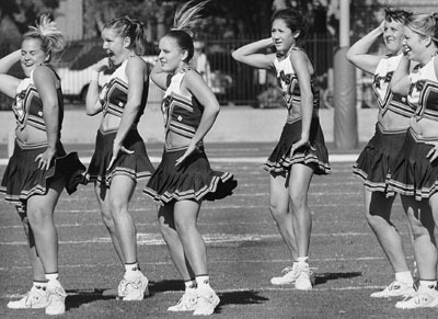 """The ULV cheer squad synchronized its halftime performance to Lenny Kravitz's remake of """"American Woman."""" / photo by Isela Peña"""