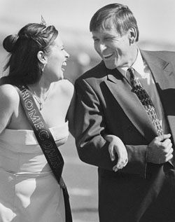 Princess Elizabeth Rodarte, senior, was escorted by Prince Andrew Woolsey's father, Ron Woolsey. Andrew Woolsey was a starting wide receiver in the Homecoming football game. / photo by Isela Peña