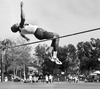 """Sophomore Andre Ike cleared 6'7"""" at the SCIAC Track Quad meet Monday. Out of 10 competitors, including two others from ULV, Ike placed second overall. ULV, as a team, was defeated by all three schools-Pomona-Pitzer, Cal Lutheran and Redlands. / photo by Laura Ambriz"""