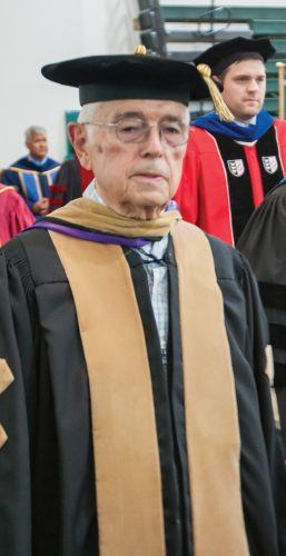 Jack McElwee, professor of business administration emeritus, attends the 2013 University of La Verne convocation. / file photo by Hunter Cole