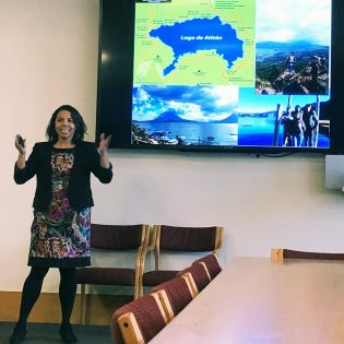 Heidy Contreras, associate professor of biology, presented results from her Science and Community program that immersed students in Guatemalan culture, Feb. 11 in the Howell Board Room.
