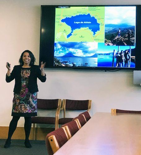 Heidy Contreras, associate professor of biology, presented results from her Science and Community program that immersed students in Guatemalan culture, Feb. 11 in the Howell Board Room. / photo by Sheridan Lee