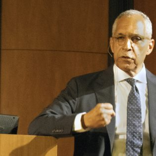 Claude M. Steele, social psychologist and professor of psychology at Stanford, speaks on how building trust can improve performance in higher education with growing diversity at the Frederick Douglass Human Rights Lecture Wednesday in Morgan Auditorium.
