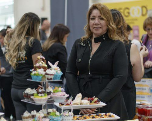 Baking instructor Silvia Castanon displays her creations at the 50 Fifty Products booth at the LA Cookie Convention. Castanon and other exhibitors sold products, shared knowledge and hosted tastings Saturday and Sunday at the Fairplex. / photo by Danielle De Luna