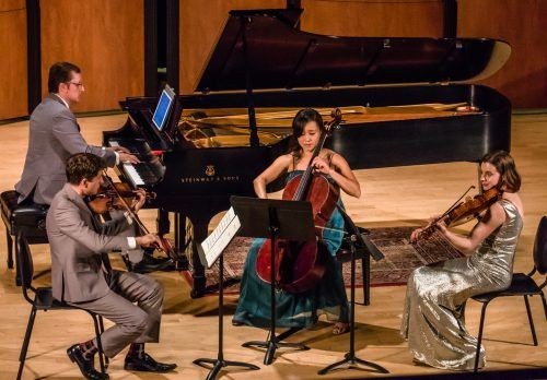 "The chamber music ensemble of Alex Russell, Rafael Liebich, Joo Lee, Sarah V. Dudas and Ji Young An perform finale, ""Allegro ma non troppo"" by Robert Schumann in E-flat Major, op. 44, Sunday in Morgan Auditorium. / photo by Mya-Lin Lewis"