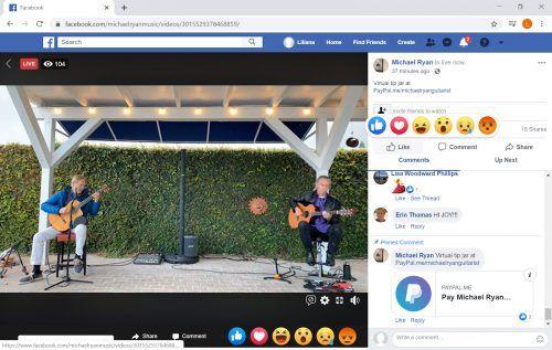 Senior adjunct professor of music Michael Ryan and guitarist Ken Soderlund display good social distancing while performing via Facebook livestream. / screenshot by Liliana Castañeda