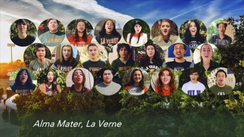 """The University Chorale and Chamber Singers end their """"Community Through Music"""" virtual concert Friday by singing the University of La Verne alma mater. / screenshot by Alondra Campos"""