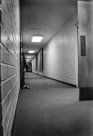 All is quiet at 3 a.m in the halls of the women's residence hall. The residence hall was dedicated, with the aid of a government loan, in May 1956 in honor of Ellis M. Studebaker. In life, Studebaker never knew the hall; he passed away in December 1954, 20 months before its completion. Two years later, Hanawalt Hall was added in honor of the family's contribution to the college's financial stability. / photo illustration by Michael P. Bailey
