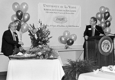 ULV's School of Continuing Education, with regional campuses in Orange County, San Fernando Valley and the Inland Empire, celebrated its 30th Anniversary during a reception Wednesday. Speaking were President Stephen Morgan and SCE Dean Jim Manolis. / photo by Summer Herndon
