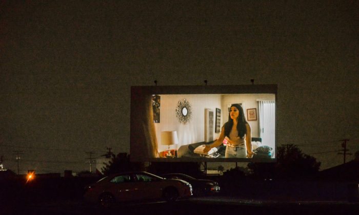 "❏ The Mission Tiki Drive-In, located in Montclair, shows ""The Broken Hearts Gallery"" Sept. 15. The Mission Tiki Drive-in has multiple movies playing at once, allowing people to choose the movie they want to watch. / photo by Emily Alvarez"