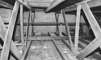 The five-foot high attic of Founders Hall shows the durable construction techniques of the past. Founders Hall was finished and ready for occupancy in the fall of 1926. The concrete building housed the library, classrooms and offices of the entire college. / photo by Ryan Sones