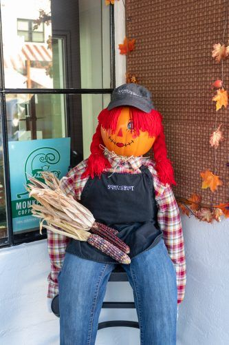 """Cookies McCrow"" at Some Crust Bakery on Yale Avenue in Claremont is one of more than 90 entries in the Claremont Chamber of Commerce' Scarecrow Party. During the month of October residents and business owners are displaying scarecrows in their front yards and porches. / photo by Christine Diaz"