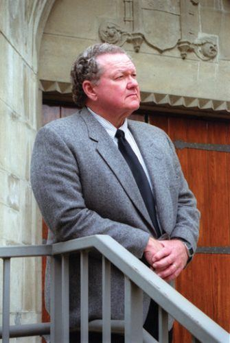 Dr. John Gingrich stands outside the La Verne Church of the Brethren in this file photo from 2003. He served the University of La Verne for 38 years as campus minister, professor of religion and dean of the College of Arts and Sciences. / file photo by Jennifer Contreras