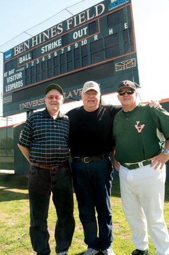 Ben Hines (center) visits the original Ben Hines Field with former baseball coach Owen Wright (left) and current baseball coach Scott Winterburn (right) in 2011. Hines, who won national championships as a coach at both the college and professional levels, died Jan. 13. / file photo by Christopher Guzman
