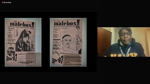 Ric Irick, publisher of Malebox, shares two issues of his publication, which was centered around the Black gay male community, at the Black Gay Mail event Feb. 4. The two issues, which Irick said are his favorites, tackle the problems of male rape and finding love within the Black gay male community. / screenshot by Emily Alvarez
